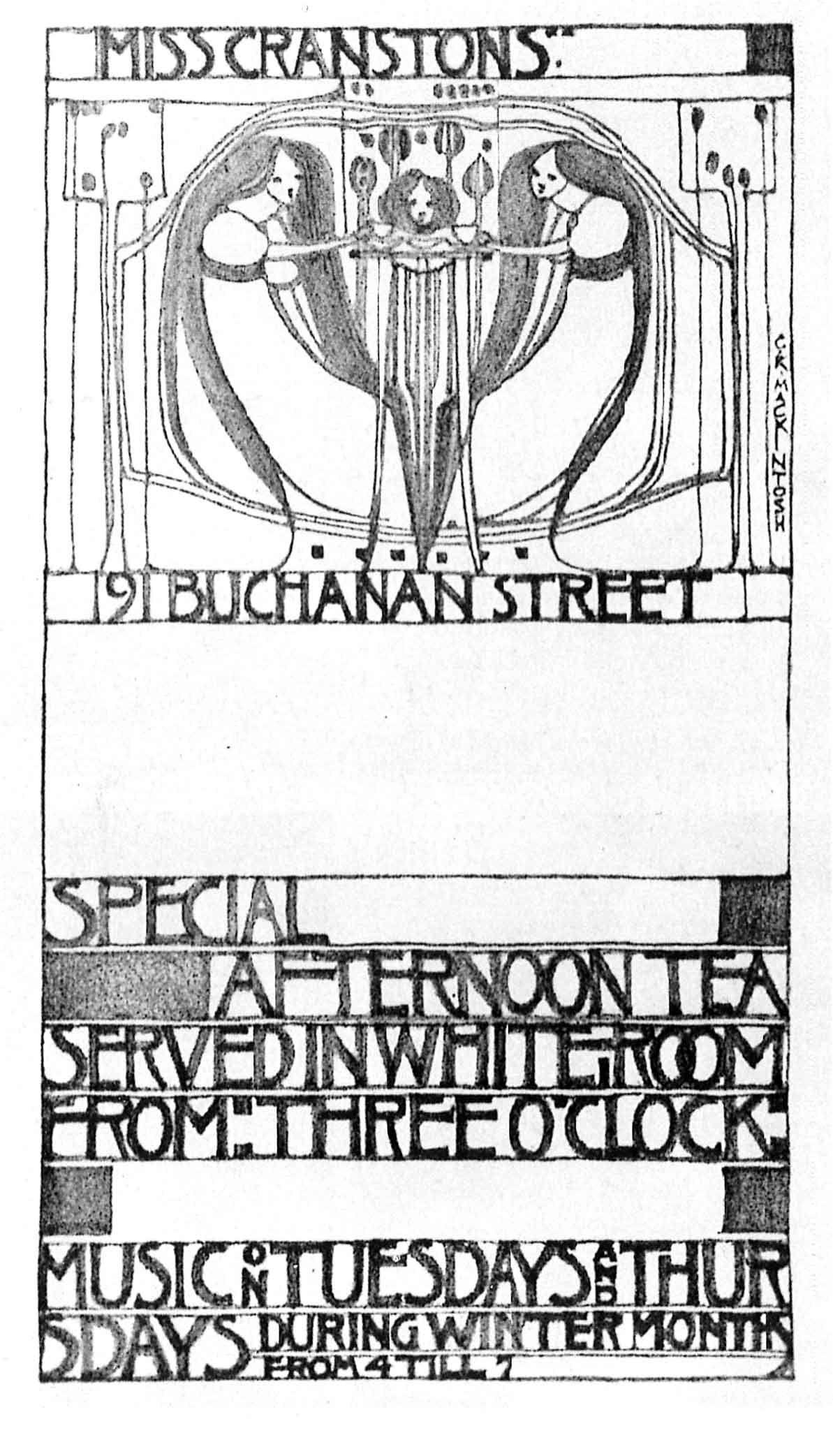 advertisement for Willow Tea Room in Glasgow, Scotland. designed by  Charles Rennie Mackintosh, 1904