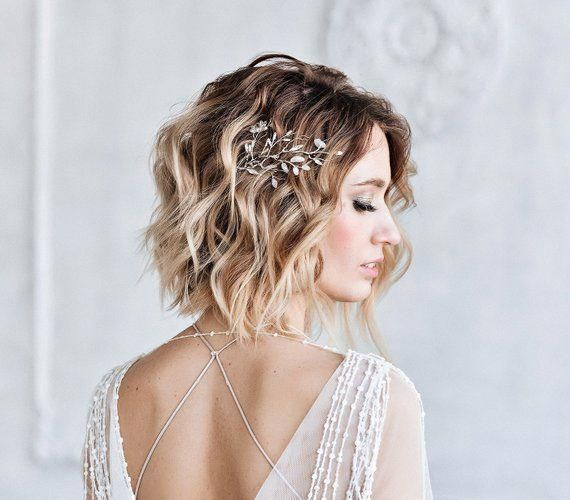 Bridal hair sprig - Jewelry silver sprig - Wedding romantic jewelry - Wedding hair pin - Wedding hair clip - sprigs of Swarovski crystals