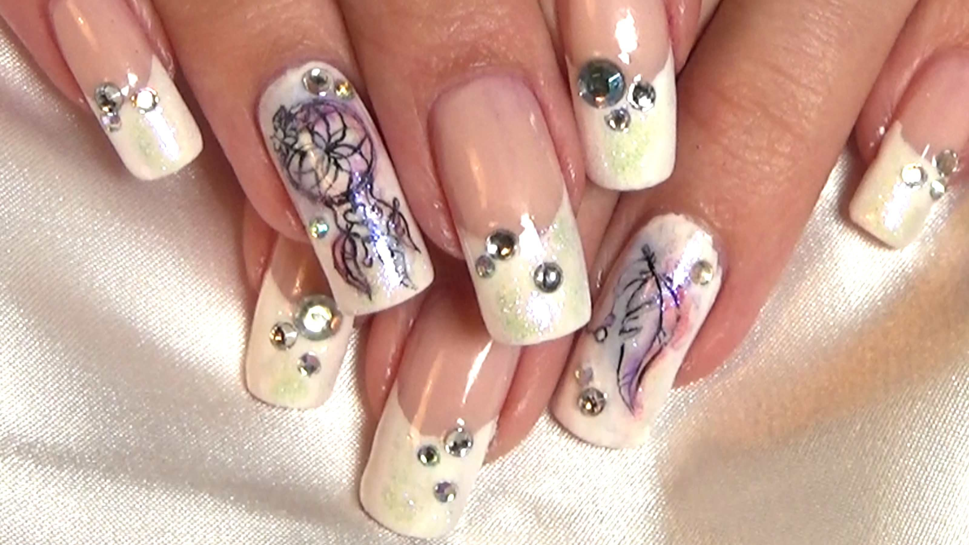 Dream Catcher French Manicure Nail Art Tutorial   Nail Art   Pinterest