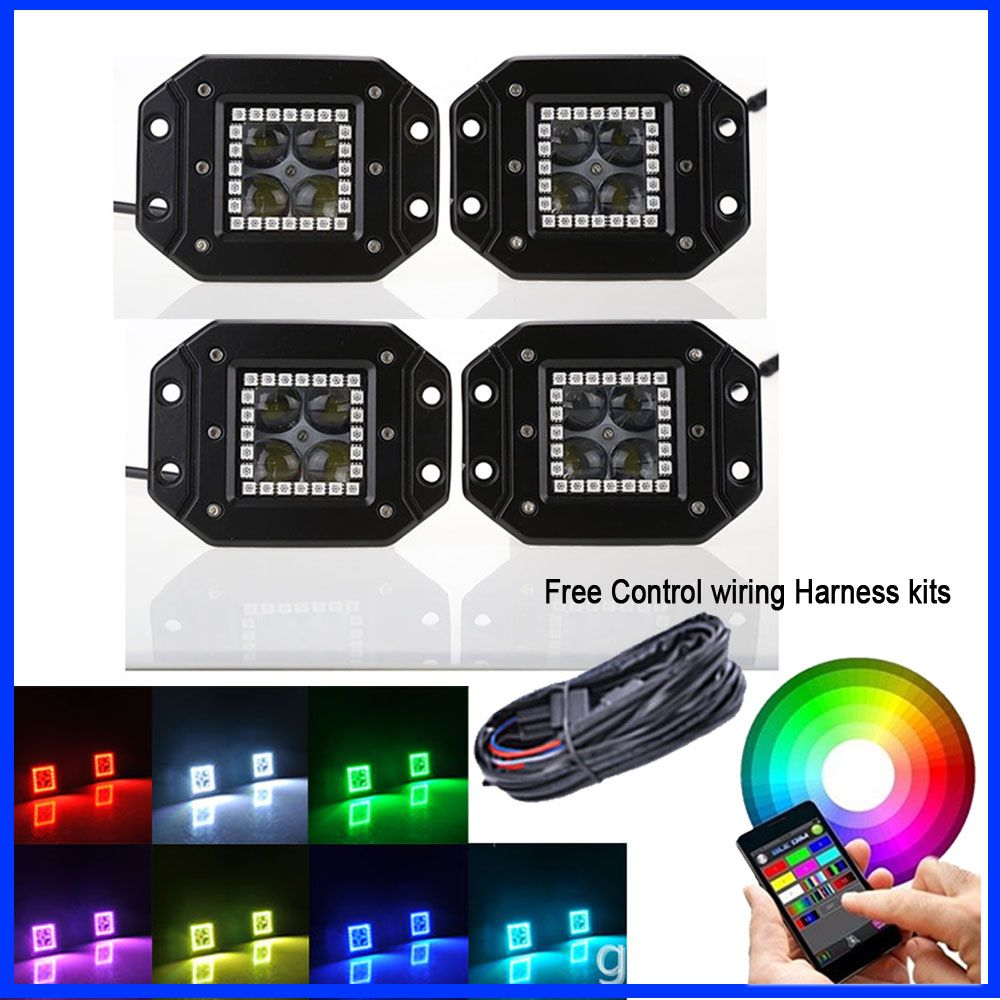 4x 4d flush mount led work light bar spot flood with rgb halo ring multicolor change - Spot Led Multicolore