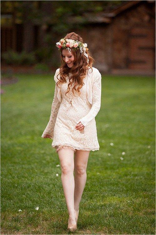 3 Brautkleid kurz mit Ärmeln beige Spitze mini Hochzeit in ...