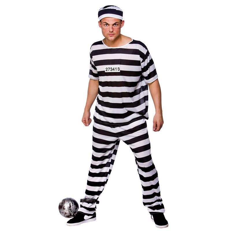 Prison Break Convict Prisoner Mens Fancy Dress Party Halloween Costume New Convict Costume Fancy Dress Halloween Costumes Mens Costumes