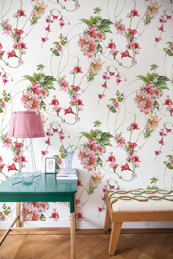 Removable Wallpaper Peel And Stick Wallpaper Wall Paper Wall Etsy Vintage Floral Wallpapers Vintage Nursery Decor Wallpaper Stores