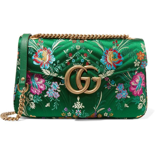 6b3adcd03263ed Gucci GG Marmont medium quilted floral-jacquard shoulder bag ($1,510) ❤  liked on Polyvore featuring bags, handbags, shoulder bags, gucci, green, ...