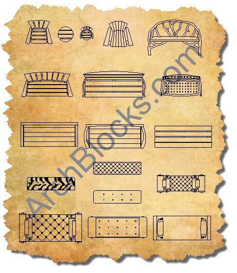 AutoCAD Bench Symbols floor p lan Pinterest