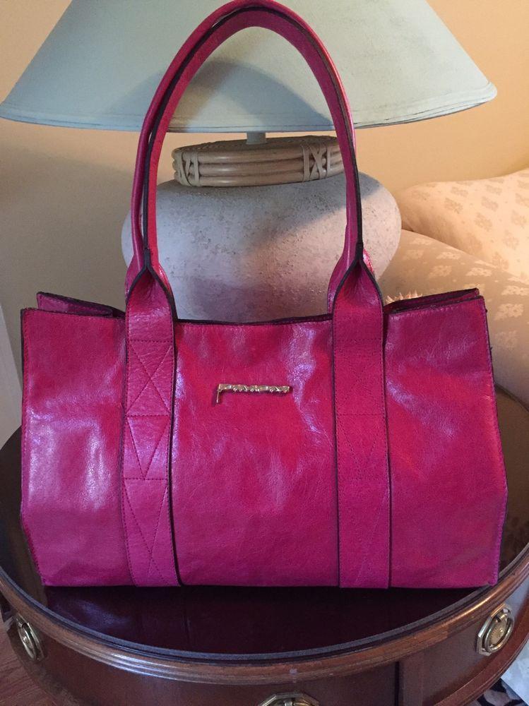 Dimoni Made In Spain Genuine Leather Gorgeous Pink Handbag Purse Shoulder Nwot Shoulderbag