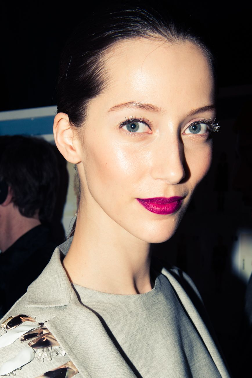 NYFW Daily Debrief Carolina Herrera Pink lips, Hot pink
