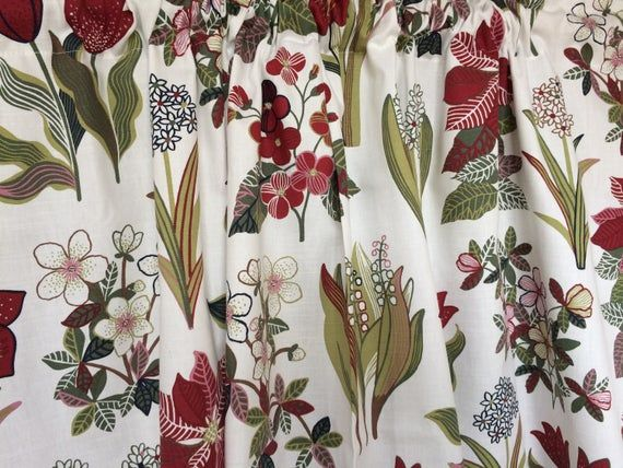 Cotton Curtain panel Decor Cafe curtain Kitchen valance #valance #FloralCurtain #ScandinavianFabric #FloralCurtains #RedFlowersCurtains #cotton #ScandinavianCurtain #KitchenCurtain #CurtainsLivingRoom #CottonFabric