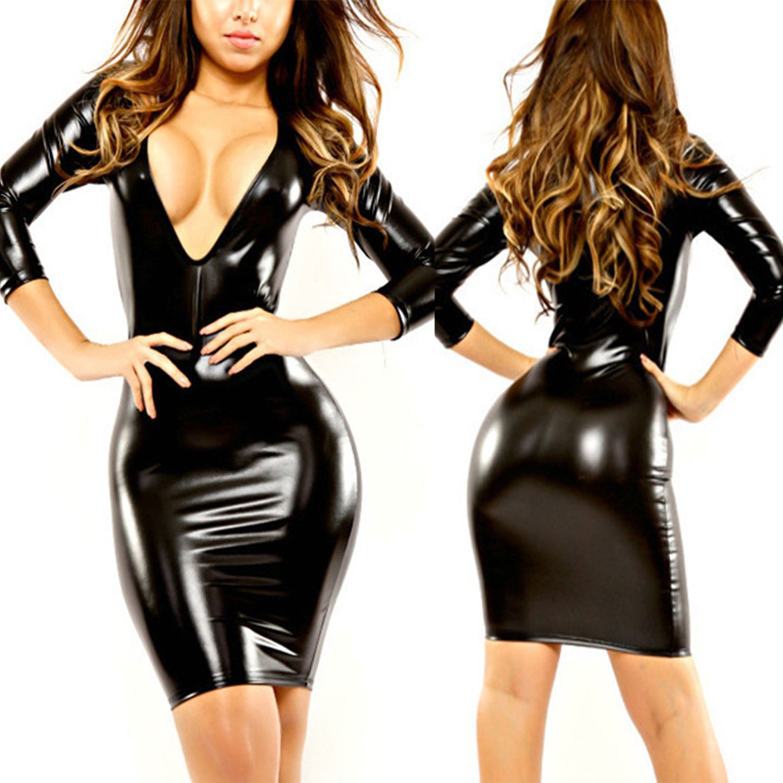 da28bb3cde52 Women Faux Leather Wet Look Bodycon Short Mini Party Dress Dance Clubwear  Black