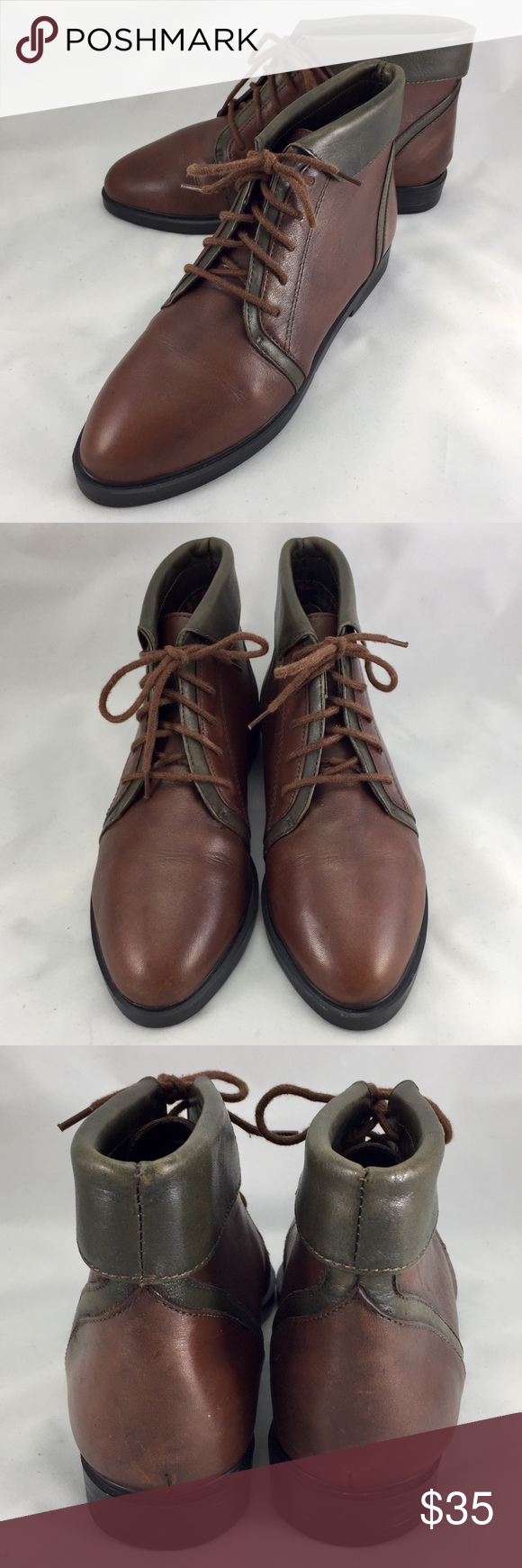 1b9453217f2b Like NEW vintage Sporto colorblock lace up booties Two-tone brown and olive  green vintage leather tie ankle boots booties by Sporto.