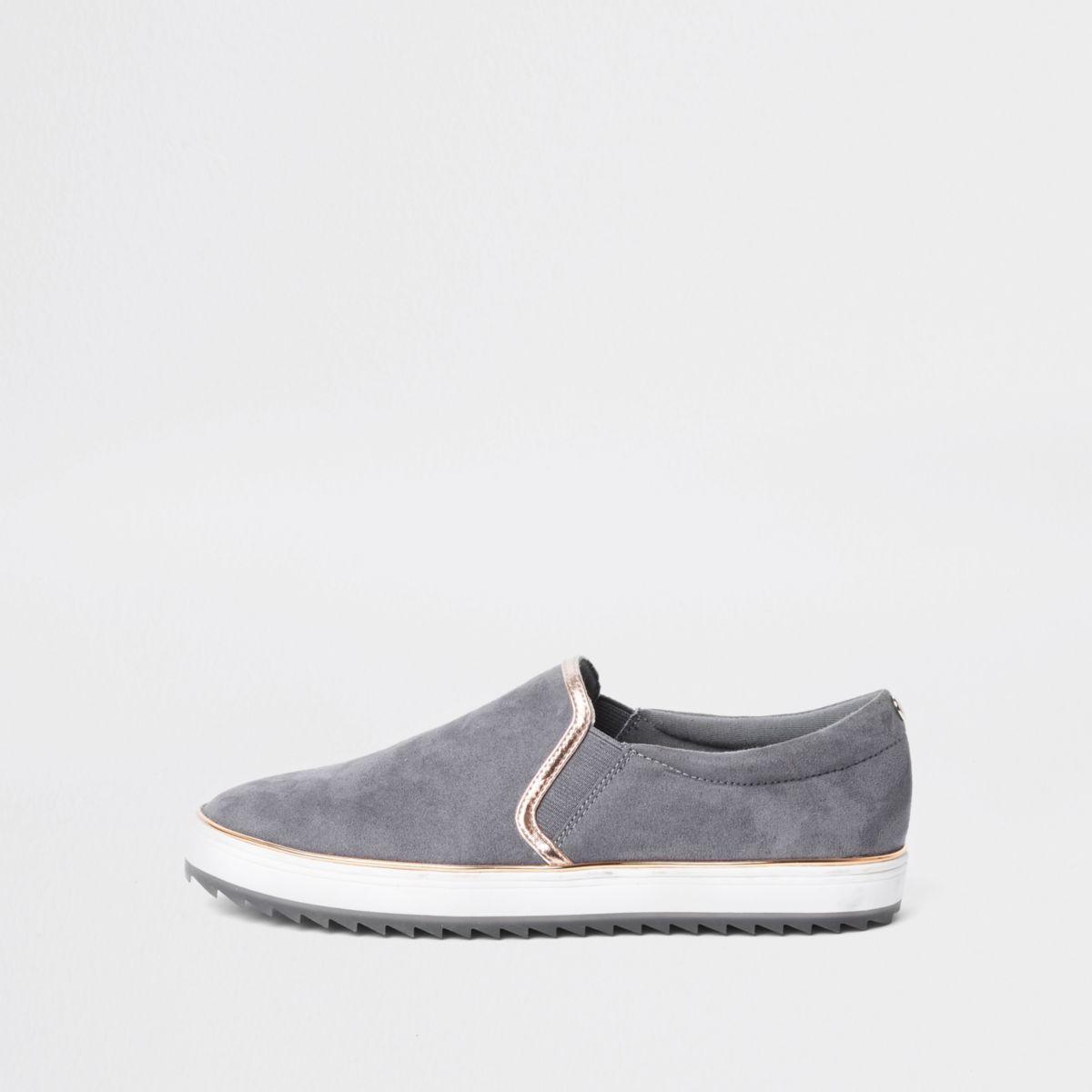 Grey slip on plimsolls | Boot shoes
