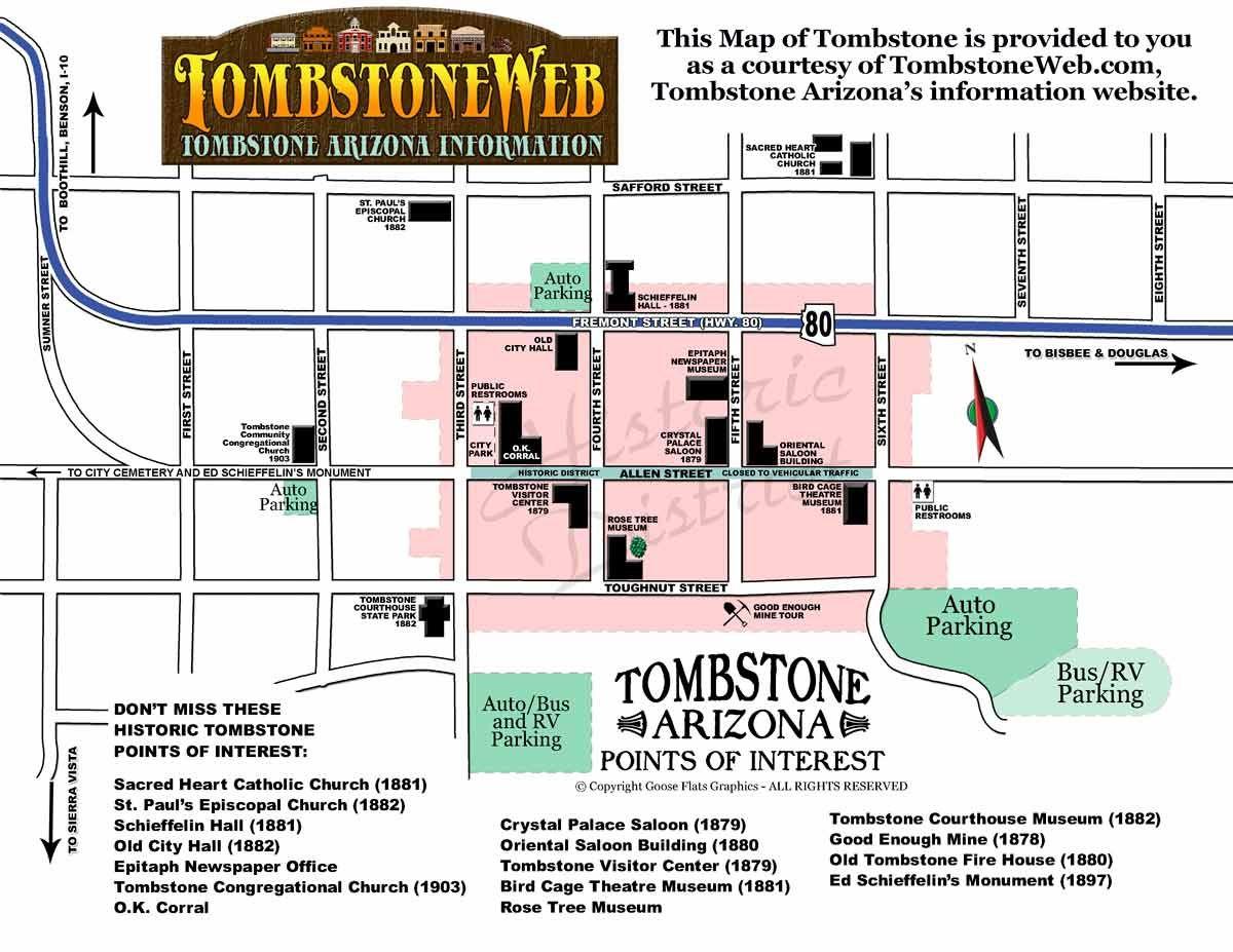 Tombstone Arizona Town Map | Arizona vacation \'18 in 2019 ...