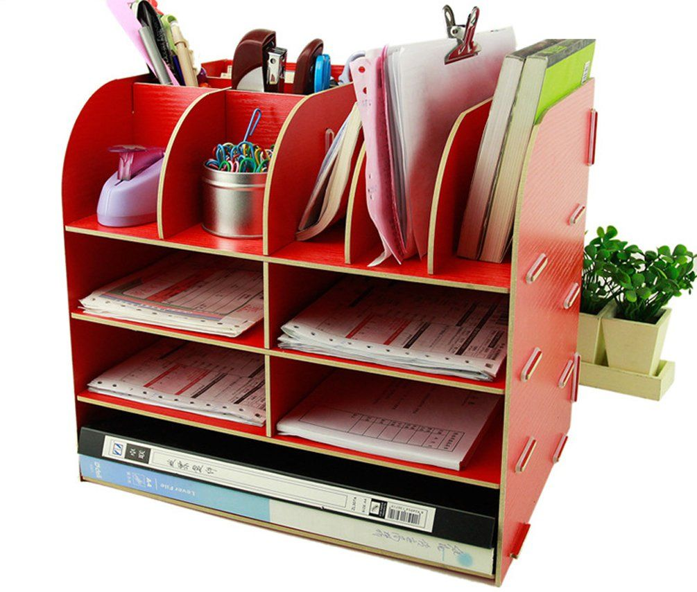 Xiong Guo Wooden Desk Storage Box Office Supplier Storage Cabinet Pen  Pencil Holder Stapler Stand (