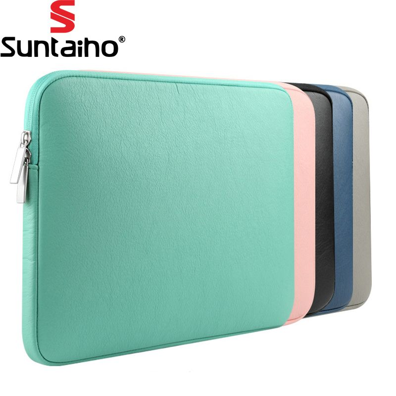 New Pu Leather Waterproof Laptop Sleeve Bag Protective Zipper Notebook Case Computer Cover For 11 13 15inch Fo Notebook Case Macbook Air Pro Laptop Accessories