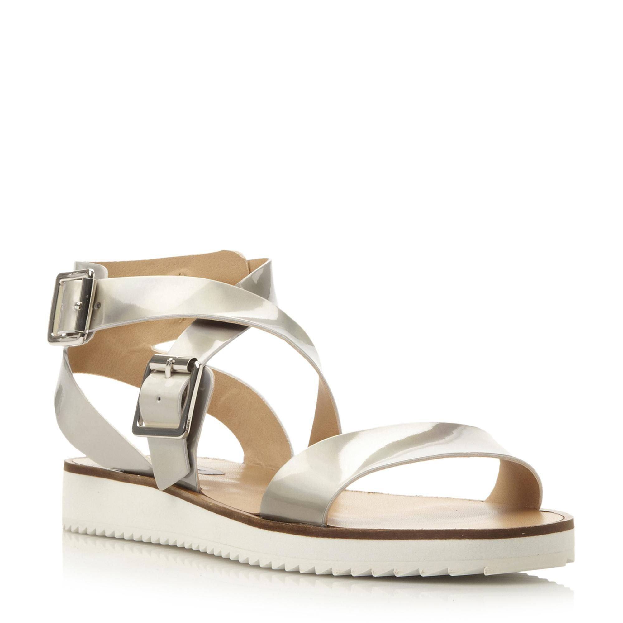 ebfb6f5aa24 STEVE MADDEN MELLLOW SM - Shark Sole Strappy Flat Sandal - silver ...