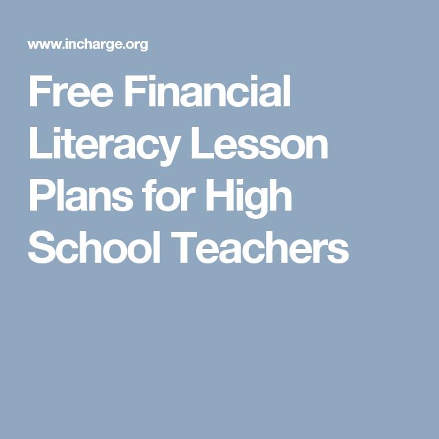 Free Financial Literacy Lesson Plans For High School Teachers