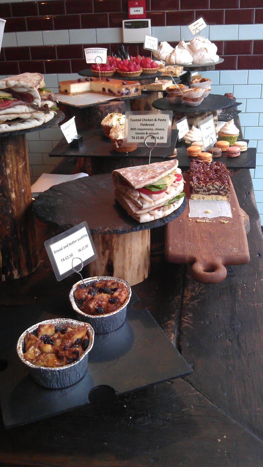 Cake display at Exmouth Coffee Co's cafe in Whitechapel ...