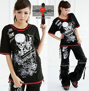Unisex Visual Kei Punk Rock Fake Double Layer Violet RED Jrock Death Note Top