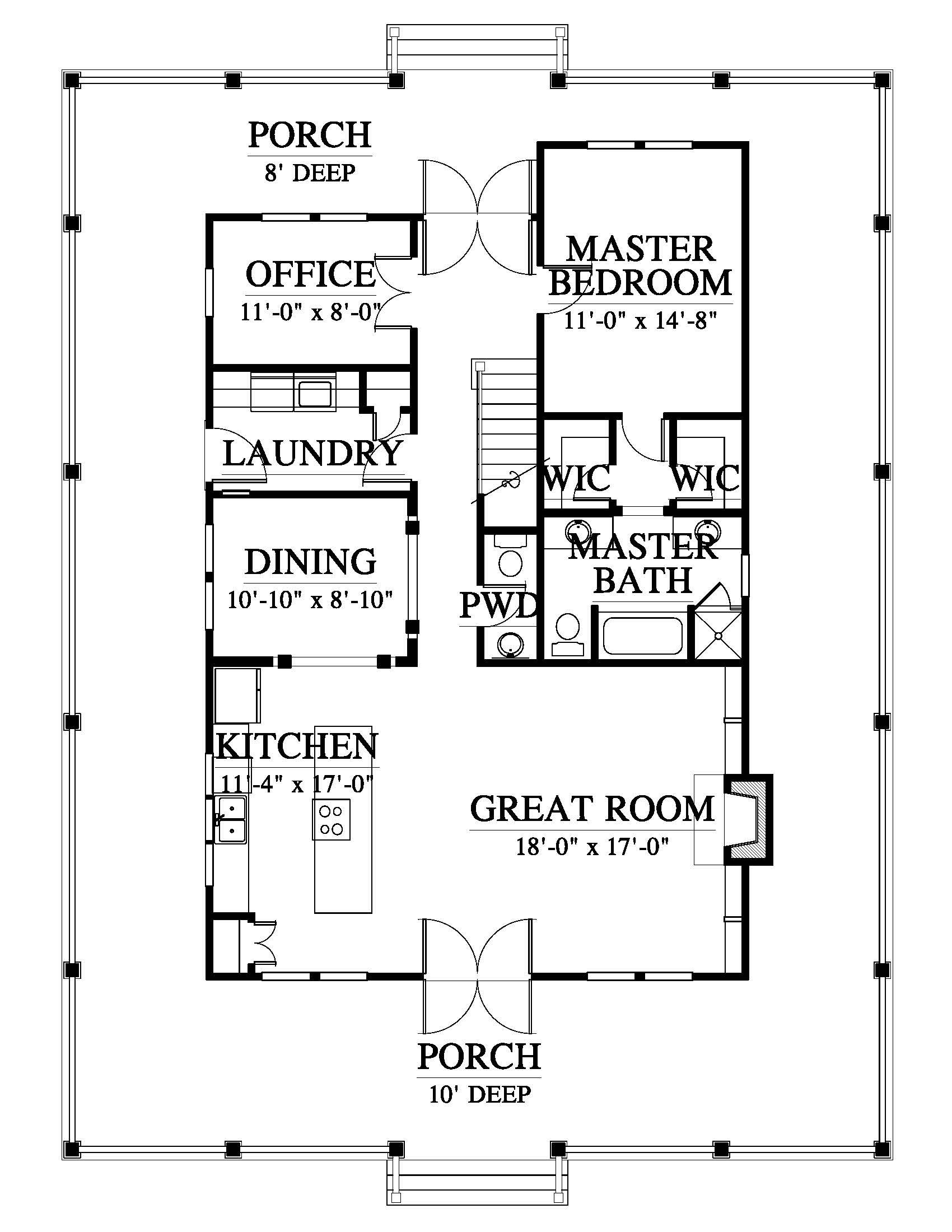 Elevation One Bedroom House Beach House Floor Plans House Plans Farmhouse