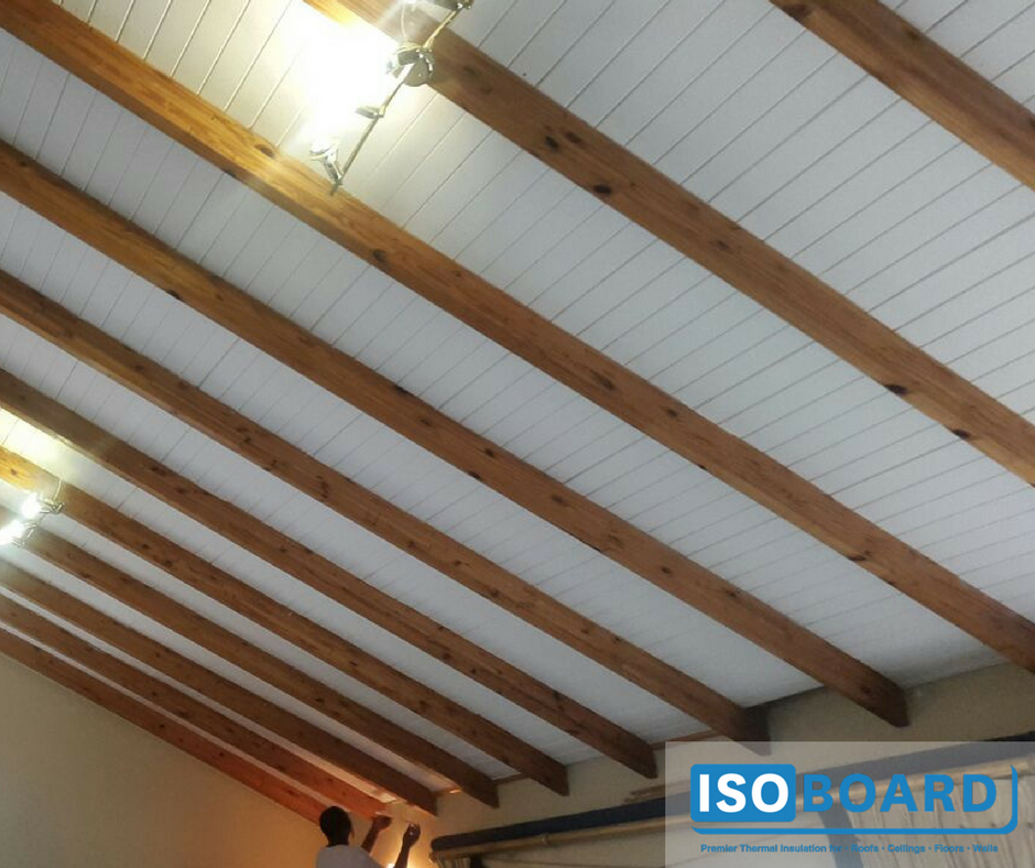 50mm Isoboard Retrofit Between Purlins Our Isopine Finish Mimics Tongue And Groove Wood Slats It Can Also B Exposed Ceilings Exposed Rafters Roof Ceiling