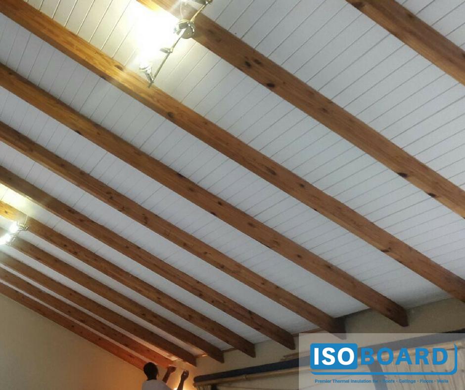 50mm Isoboard Retrofit Between Purlins Our Isopine Finish Mimics Tongue And Groove Wood Slats It Exposed Ceilings Tongue And Groove Ceiling Roof Ceiling