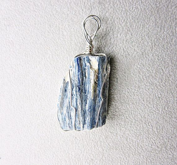 Pendant, wire, cyanite, necklace, raw stone, minerals, blue, white ...