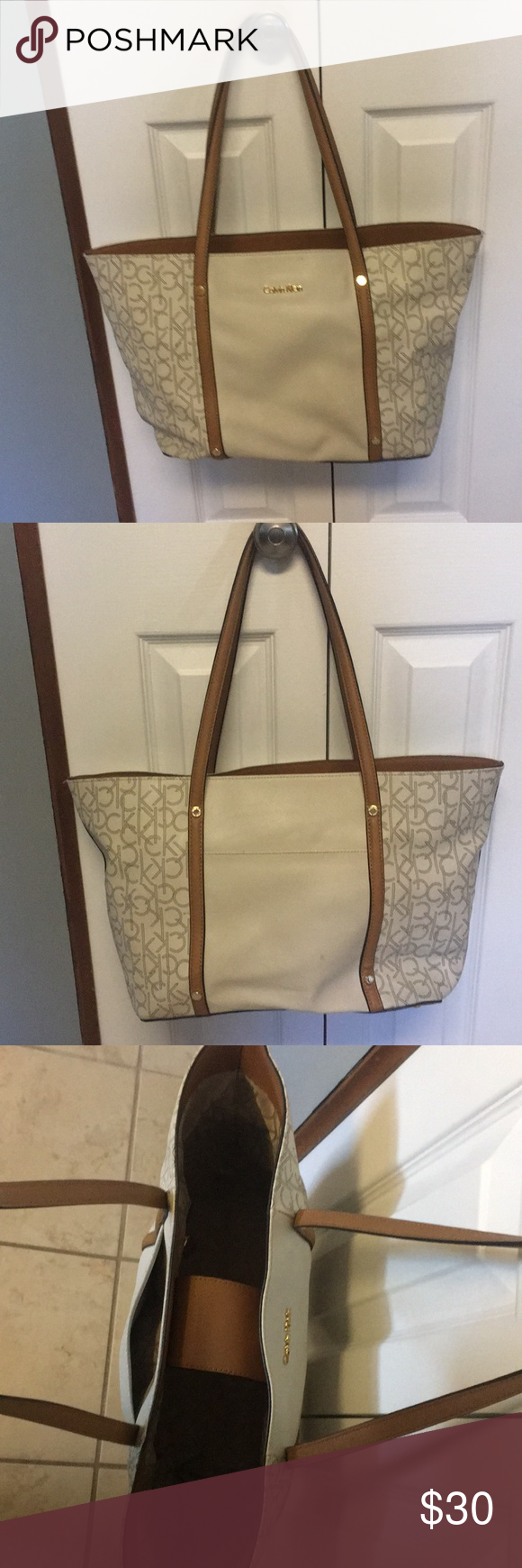 Calvin Klein large tote Gently used large Calvin Klein tote. Very spacious, I used it when traveling, it will hold everything but the kitchen sink! Calvin Klein Bags Totes