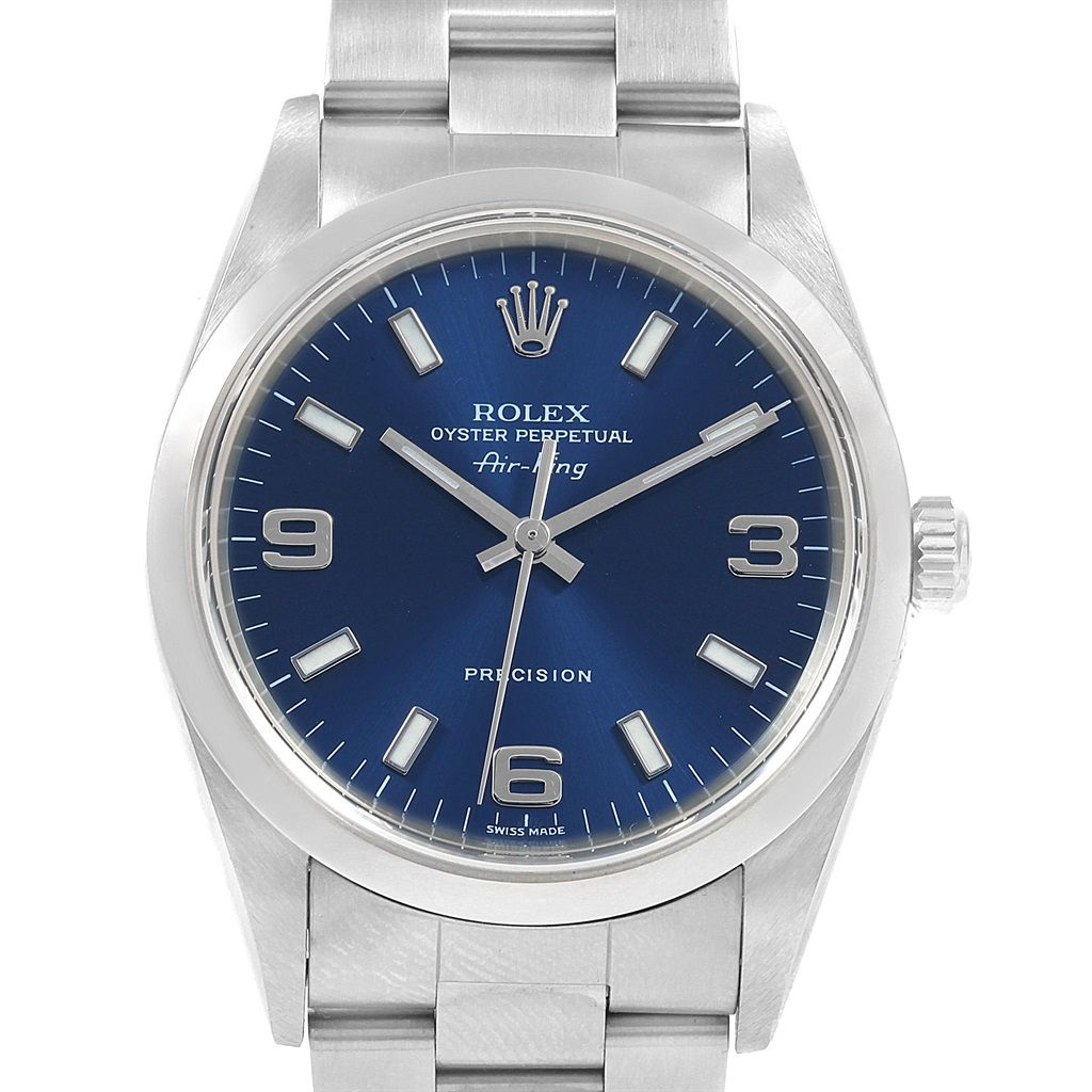 21156 Rolex Air King 34 Blue Dial Oyster Bracelet Steel