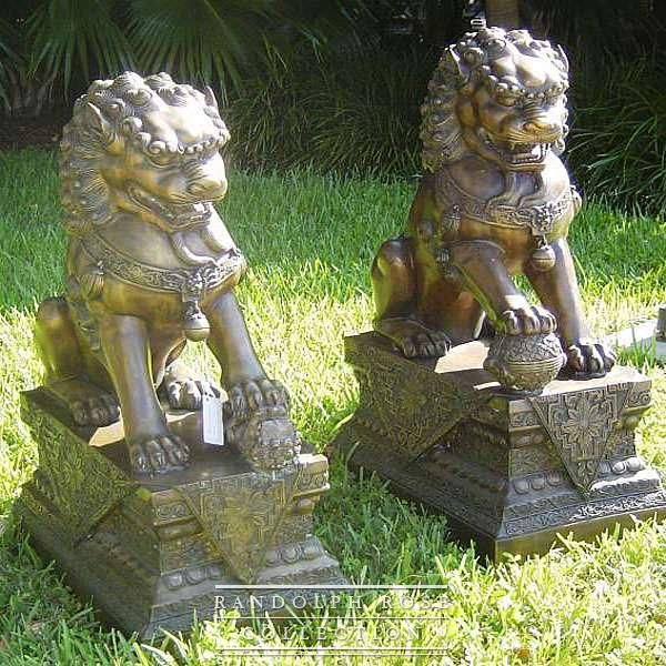 Chinese Foo Dogs Clic Bronze Asian Outdoor Garden Art Statues
