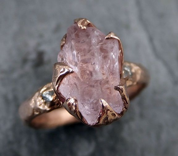 Raw Rough Morganite Diamond 14k Rose Gold Ring Pink Gemstone Tail Statement