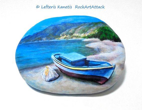 Pintura sobre piedra paisaje, playa con barco de pesca! Paisaje marino con alta calidad y acabado con protección de barniz brillante acrílico pinturas