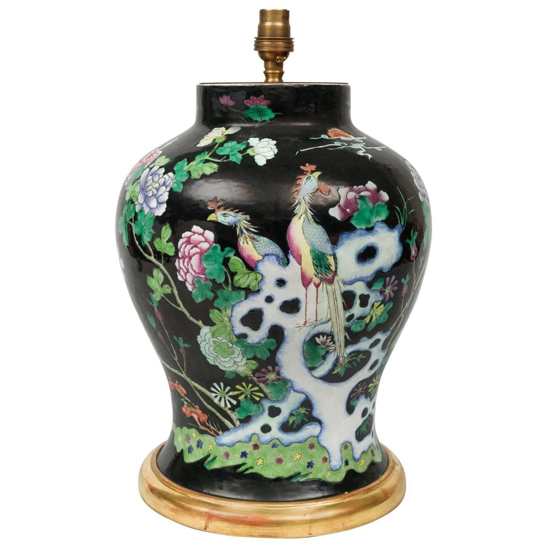 Chinese Famille Noire Vase Lamp | Modern table, Porcelain ...
