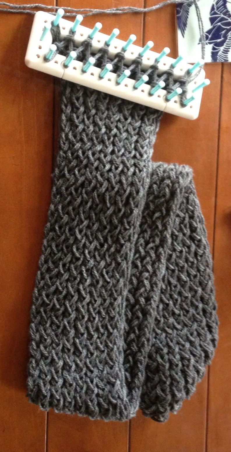 Loom knit scarf...I just finished this and it turned out ...