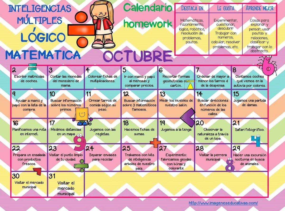 Octubre 2018 Calendario Homework Inteligencias M Ltiples  # Muebles Mayoral
