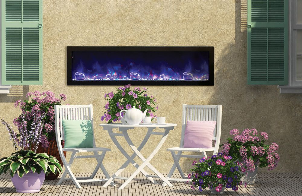 amantii panorama deep 60 u2033outdoor built in electric fireplace w cover rh pinterest com