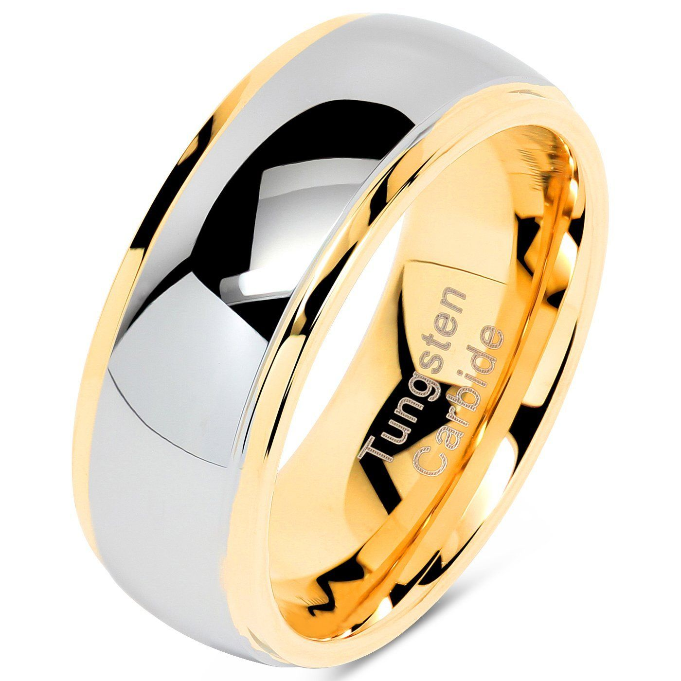 100S JEWELRY Tungsten Rings for Men Women Wedding Band Two
