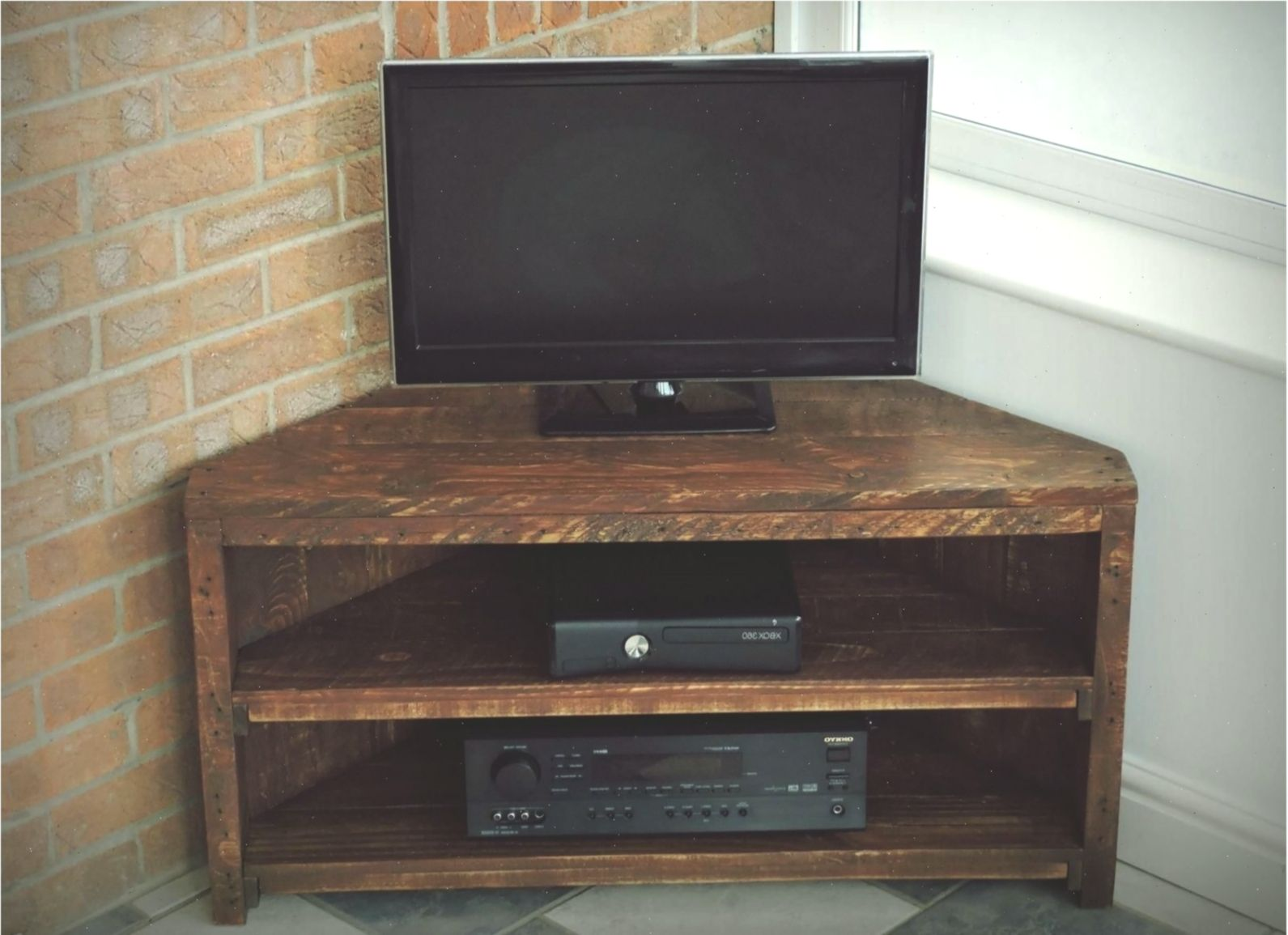 Corner Tv Unit Recycled Pallet Rustic Style Handmade Solid