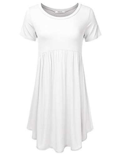 835ce46ae86 NINEXIS Women's Basic Short Sleeve Loose Fashion Dress IVORY S **  Additional info @