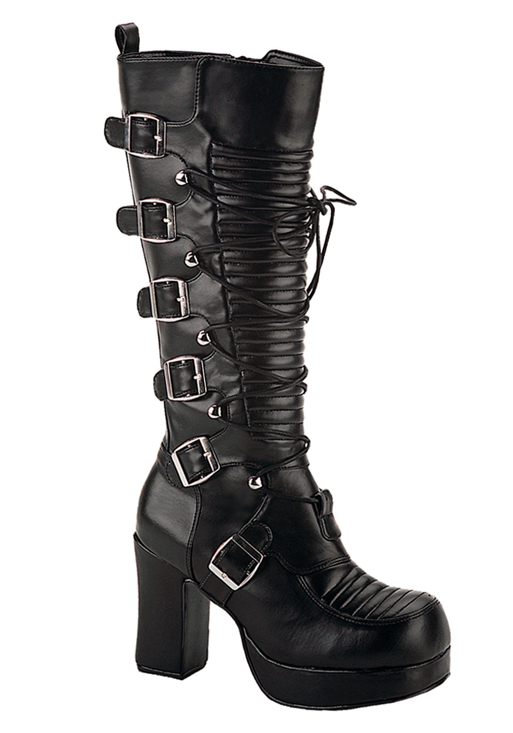 Demonia CRYPTO-106 4 Inch Heel P/F Goth Punk Lolita Corseted 5 Buckle Knee BT vT9aKnM