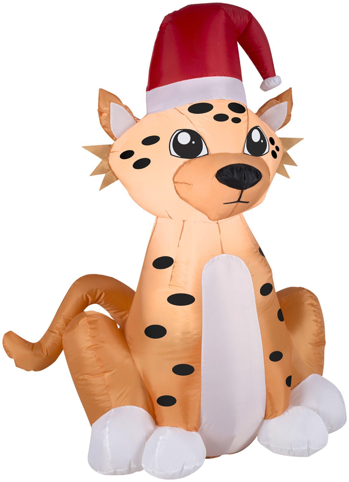 Airblown Inflatables Christmas Cheetah with Santa Hat