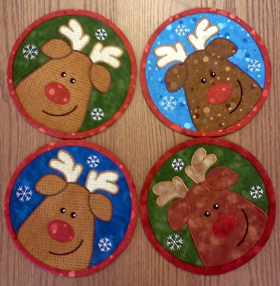 7 1/2 Quilted Rudolph Mug Mat Set of Four. $39.99, via Etsy.