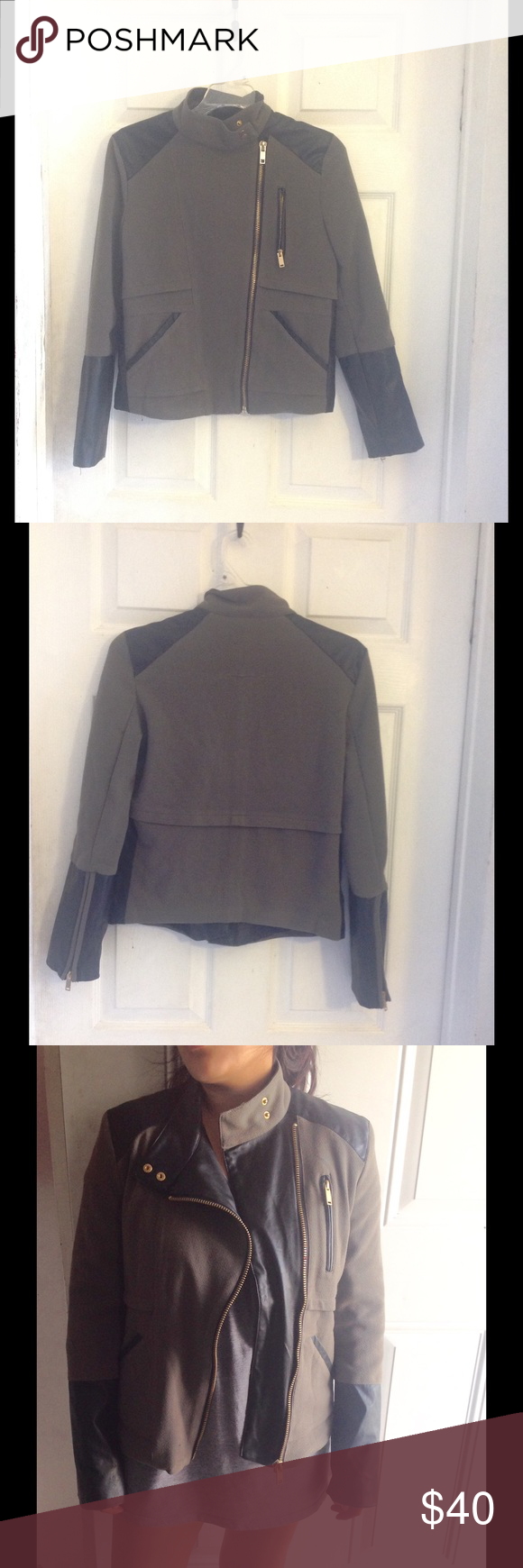 "ZARA ''Leather"" Jacket Gently used. Very clean, no flaws. Size tag is missing. Stretchy Zara Jackets & Coats"