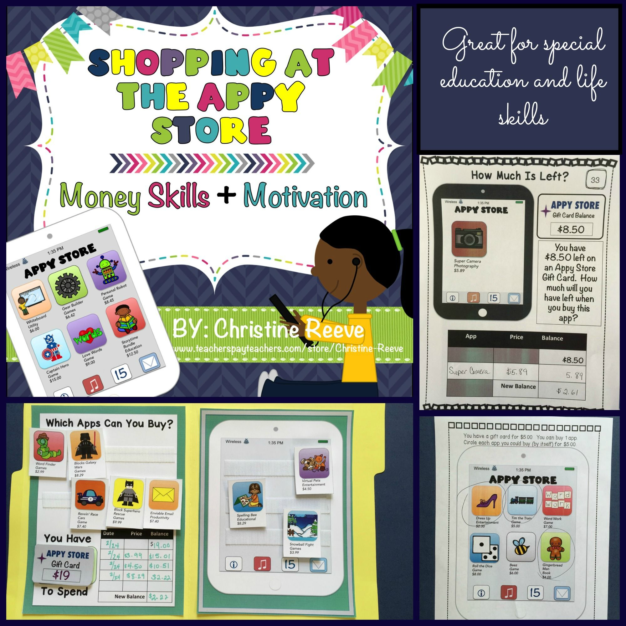 Shopping At The Appy Store Money Worksheets Task Cards Spec Ed Life Skills