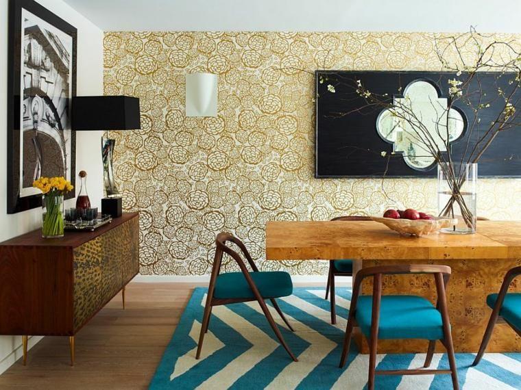 Simple papier peint dor tapis de sol blanc bleu design table salle manger bois chaise fauteuil - Tendance papier peint salle a manger ...