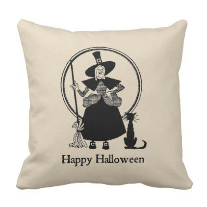 Halloween Witch  Black Cat Vintage Style Pillow - halloween decorations black cat
