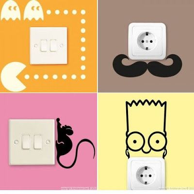 Ideas creativas para decorar los enchufes cables y for Vinilos para enchufes