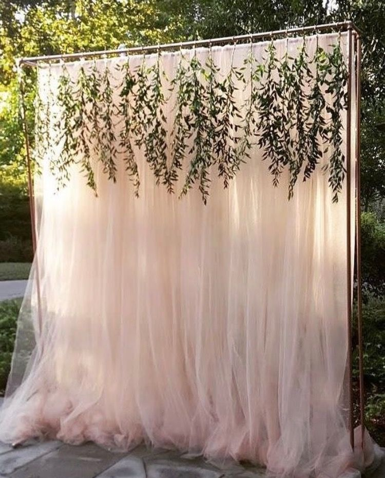 Pvc Curtains Hooks Fake Greenery Spray Paint Wedding