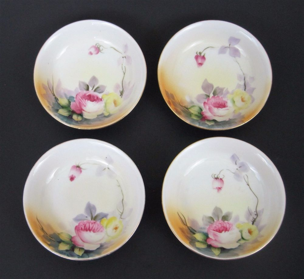 Nippon China Pink Yellow Floral Dessert Bowls Plates Early Maple ...
