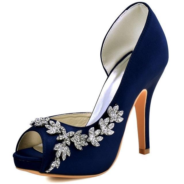 124ffb994cbb Women Platform High Heels Bridal Wedding Shoes Ivory White Rhinestones Peep  toe Bride Bridesmaids Prom Pumps Burgundy HP1560IAC