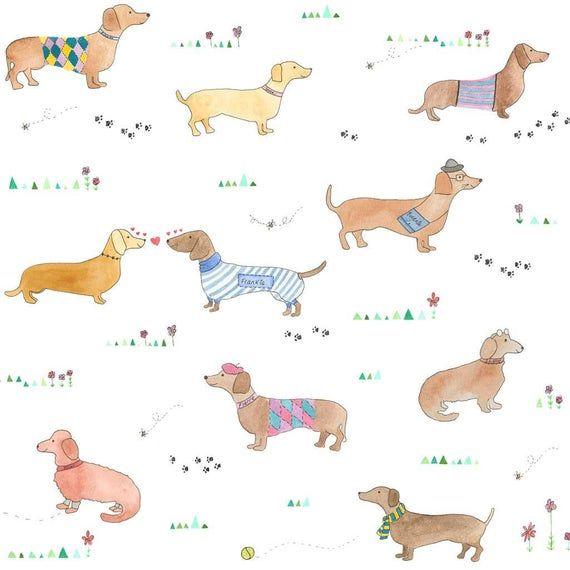 Personalised Sausage Dog Wallpaper Sausage Dog Gift Dog